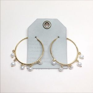NWT Anthropologie Gold Hoop Pearl Earrings